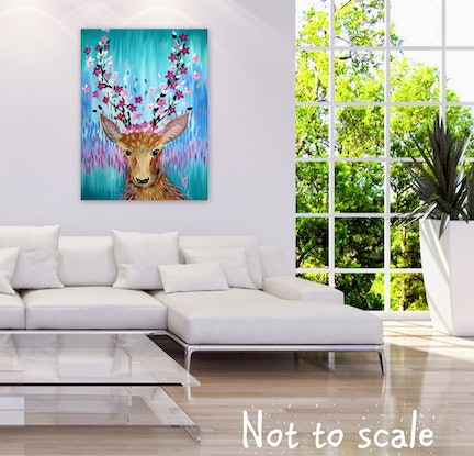 (CreativeWork) Free Spirited Deer by Cathy Jacobs. Acrylic Paint. Shop online at Bluethumb.
