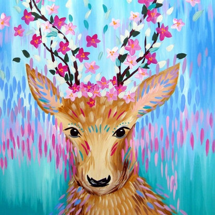 (CreativeWork) Free Spirited Deer by Cathy Jacobs. arcylic-painting. Shop online at Bluethumb.