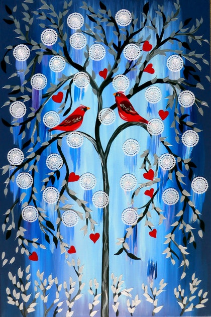 (CreativeWork) Romantic Cardinals by Cathy Jacobs. arcylic-painting. Shop online at Bluethumb.