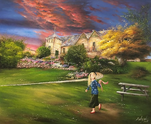 (CreativeWork) Childhood by Mahyat Tehrany. Oil Paint. Shop online at Bluethumb.