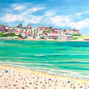(CreativeWork) Busy Bondi by Gillian Fahey. arcylic-painting. Shop online at Bluethumb.