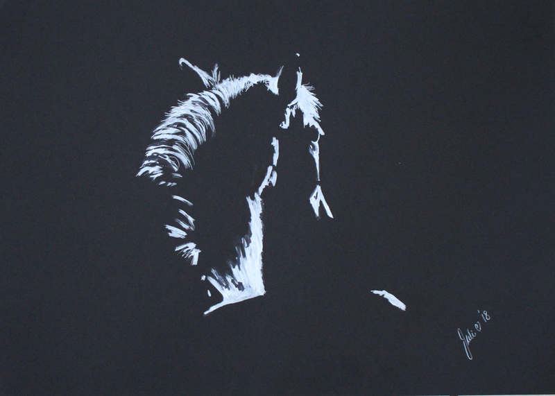 (CreativeWork) Horse in Silhouette #02 by Julie Hollis. mixed-media. Shop online at Bluethumb.