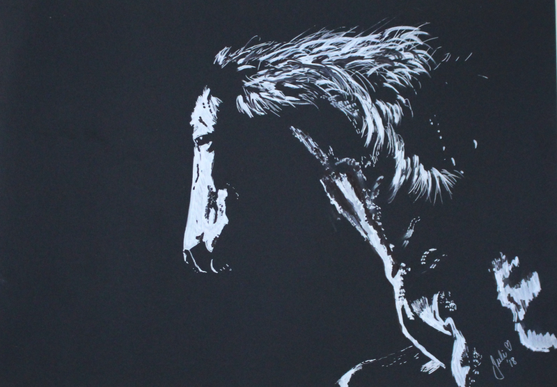 (CreativeWork) Horse in Silhouette #03 by Julie Hollis. mixed-media. Shop online at Bluethumb.