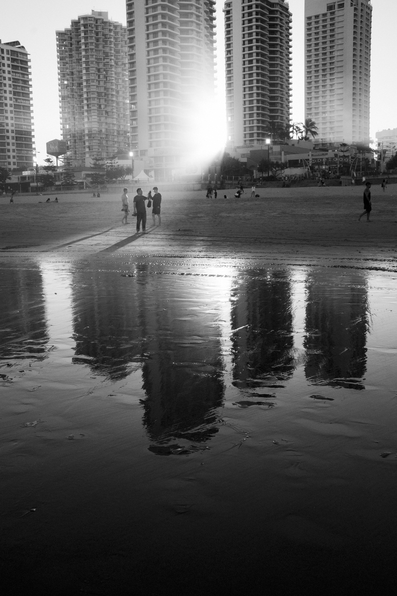 (CreativeWork) Surfers Paradise - Sunset Between the Hotels by Dale Harper. photograph. Shop online at Bluethumb.