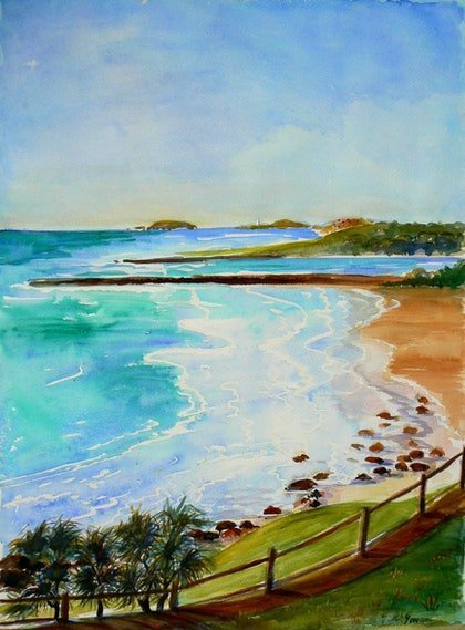 (CreativeWork) South of the Border . Qld and NSW by Virginia McGowan. watercolour. Shop online at Bluethumb.