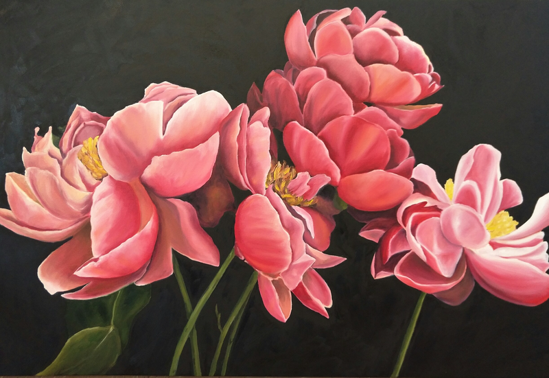 (CreativeWork) Peony #3 by Helen Syngaris. oil-painting. Shop online at Bluethumb.