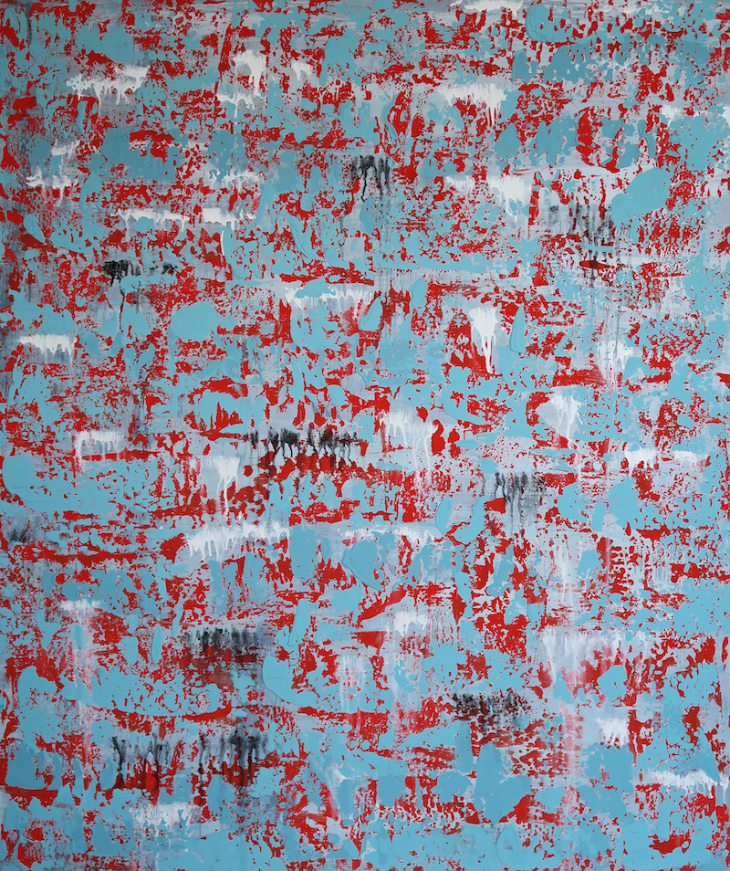 (CreativeWork) Abstract Blue On Red by Barry Johnson. Acrylic Paint. Shop online at Bluethumb.