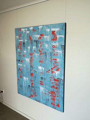 (CreativeWork) Abstract Red On Blue by Barry Johnson. Acrylic Paint. Shop online at Bluethumb.