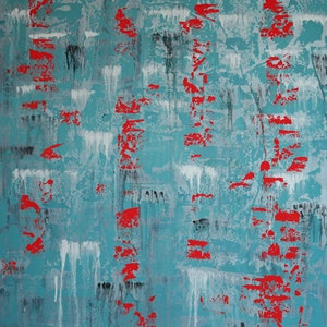 (CreativeWork) Abstract Red On Blue by Barry Johnson. arcylic-painting. Shop online at Bluethumb.