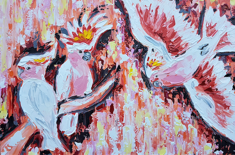 (CreativeWork) Pink Cockatoo's Under a Pink Sky  by Lisa Fahey. arcylic-painting. Shop online at Bluethumb.