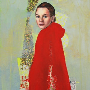 (CreativeWork) Little Red by Leah Mariani. mixed-media. Shop online at Bluethumb.