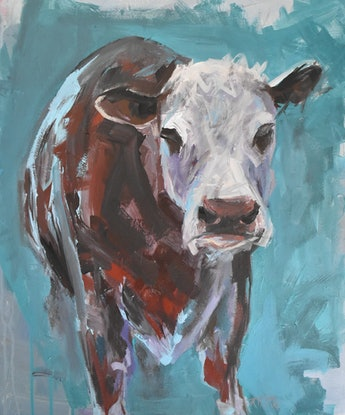 (CreativeWork) Hereford Cow by Rebecca Hill. Acrylic Paint. Shop online at Bluethumb.