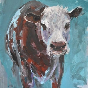(CreativeWork) Hereford Cow by Rebecca Hill. arcylic-painting. Shop online at Bluethumb.