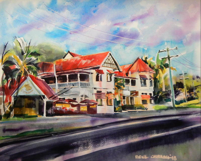 (CreativeWork) Lakes Creek Pub by Elena Churilova. Watercolour Paint. Shop online at Bluethumb.