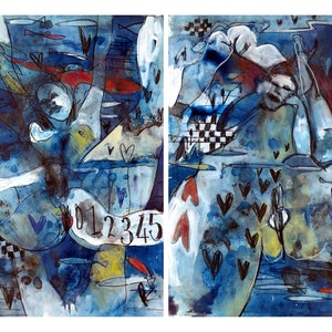 (CreativeWork) Surreal Nudes Diptych - Two works each 42 x 30cm   by John Graham. mixed-media. Shop online at Bluethumb.