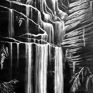 (CreativeWork) Horseshoe Falls, Blue Mountains by Linda Callaghan. acrylic-painting. Shop online at Bluethumb.