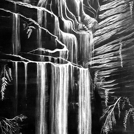 (CreativeWork) Waterfall, Blue Mountains by Linda Callaghan. Acrylic Paint. Shop online at Bluethumb.