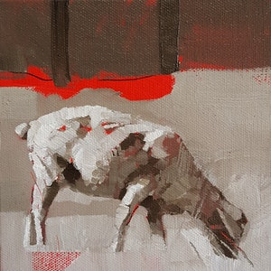 (CreativeWork) One Sheep by Richard Burkitt. oil-painting. Shop online at Bluethumb.