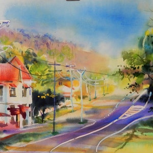 (CreativeWork) Lakes Creek Pub_1 by Elena Churilova. watercolour. Shop online at Bluethumb.
