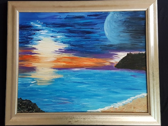 (CreativeWork) Blue Moon by Peter Strom. Acrylic Paint. Shop online at Bluethumb.