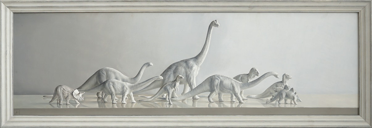 (CreativeWork) Dinosaur Parade by Daevid Anderson. Oil Paint. Shop online at Bluethumb.