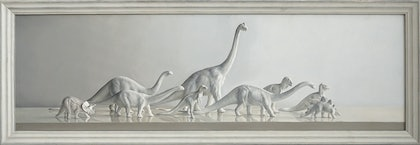 (CreativeWork) Dinosaur Parade by Daevid Anderson. oil-painting. Shop online at Bluethumb.