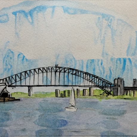 (CreativeWork) Opera House and Harbour Bridge by Gavin Bridge. Watercolour Paint. Shop online at Bluethumb.