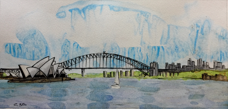 (CreativeWork) Opera House and Harbour Bridge by Gavin Bridge. watercolour. Shop online at Bluethumb.