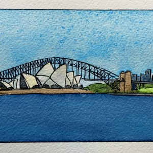 (CreativeWork) Habour Bridge and Opera House by Gavin Bridge. watercolour. Shop online at Bluethumb.