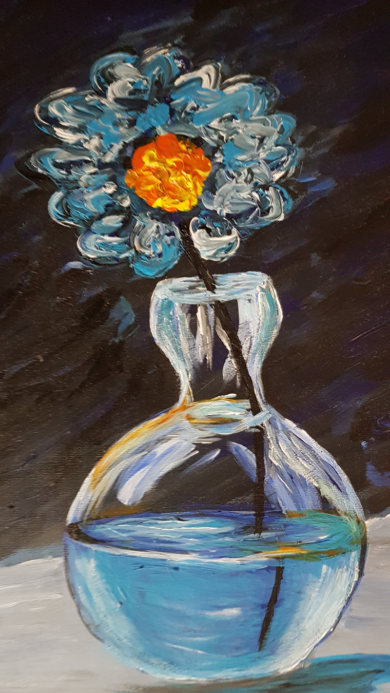 (CreativeWork) Blue Flower by Peter Strom. Acrylic Paint. Shop online at Bluethumb.