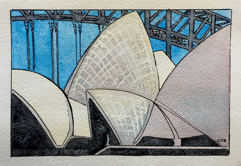 (CreativeWork) Opera House Sails by Gavin Bridge. watercolour. Shop online at Bluethumb.