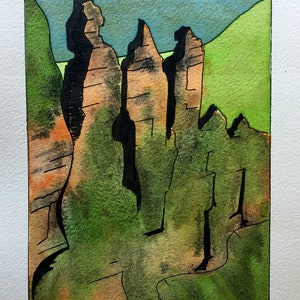 (CreativeWork) Three Sisters mini # 1 by Gavin Bridge. watercolour. Shop online at Bluethumb.