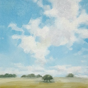 (CreativeWork) Big Summer Sky by Richard Burkitt. oil-painting. Shop online at Bluethumb.