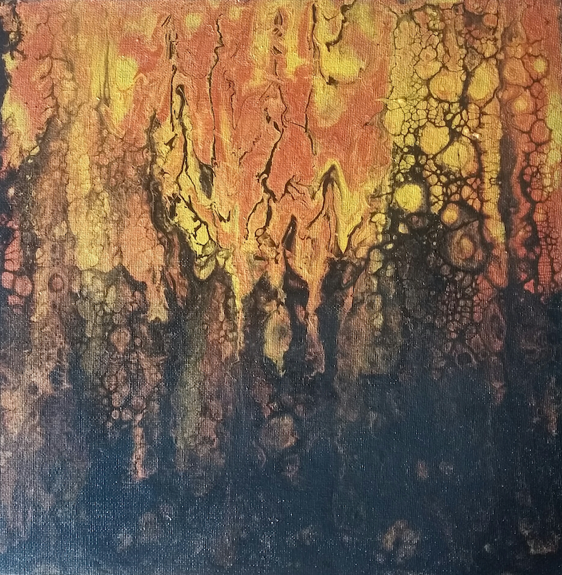 (CreativeWork) Fire over yonder II by Ana Cottilla. mixed-media. Shop online at Bluethumb.