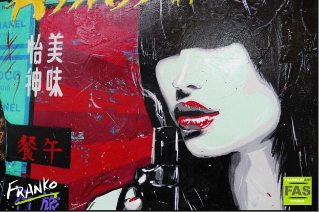 (CreativeWork) Love Assassin 140cm x 100cm     Acrylics, texture, gloss finish woman Japanese geisha pop art urban by _Franko _. Acrylic Paint. Shop online at Bluethumb.