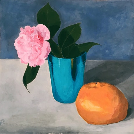 (CreativeWork) Mandarin and cup with camellia by Jac Reynolds. Acrylic Paint. Shop online at Bluethumb.