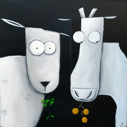 (CreativeWork) Cow and Sheep Midnight Snack #2 by Julie Robertson. arcylic-painting. Shop online at Bluethumb.
