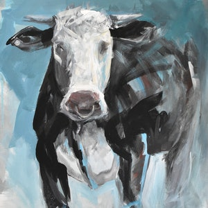 (CreativeWork) Young Bull by Rebecca Hill. arcylic-painting. Shop online at Bluethumb.