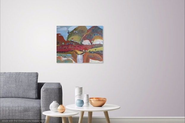 (CreativeWork) Galahs with Waterfall (on sale was $625) by Susan Trudinger. Acrylic Paint. Shop online at Bluethumb.