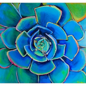 (CreativeWork) Pink Echeveria by Rebecca Read. oil-painting. Shop online at Bluethumb.