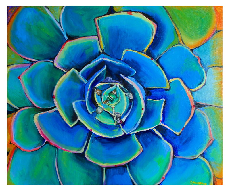 (CreativeWork) Pink Echeveria by Rebecca Read. Oil Paint. Shop online at Bluethumb.