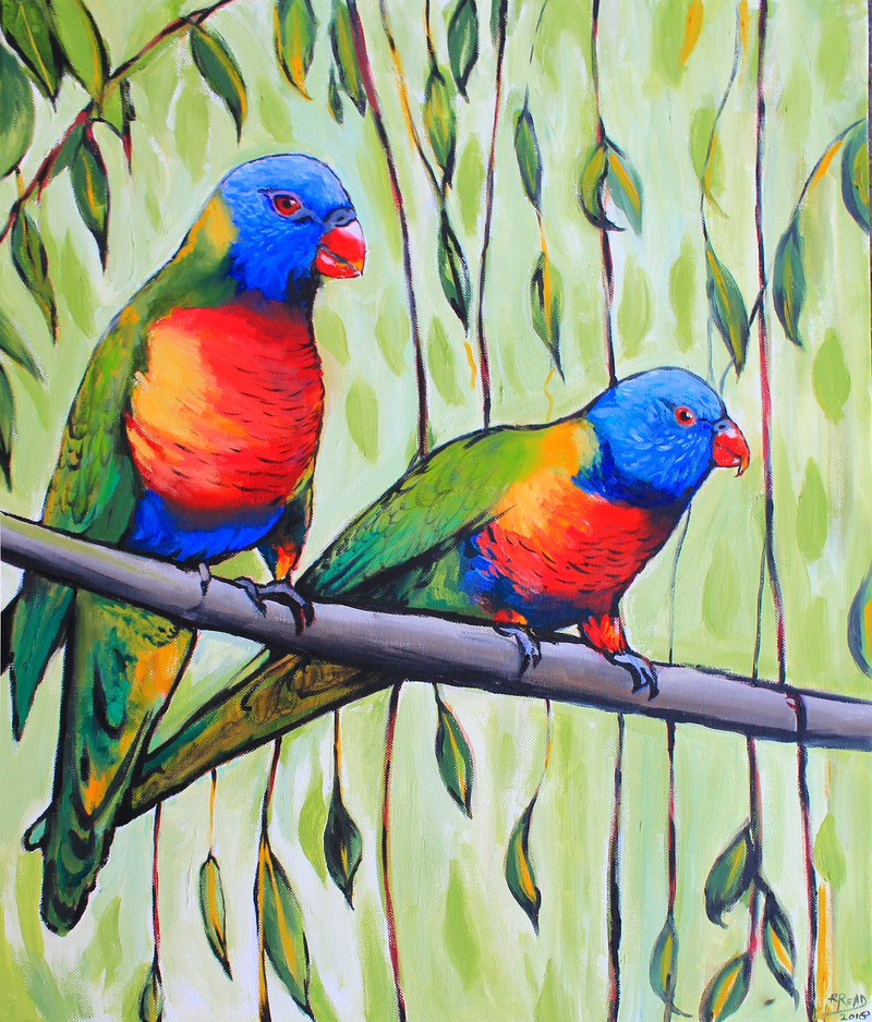 (CreativeWork) Chirpers by Rebecca Read. Oil Paint. Shop online at Bluethumb.