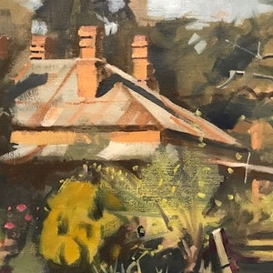 (CreativeWork) Lakeview Cottage, Chiltern by Ray Wilson. oil-painting. Shop online at Bluethumb.