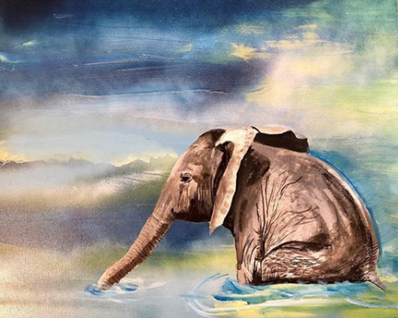 (CreativeWork) Elephant by Olivia Robinson. acrylic-painting. Shop online at Bluethumb.