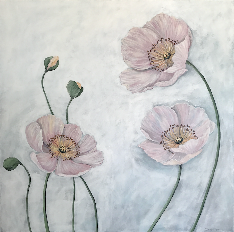 """(CreativeWork) """"Poppies for you"""" by Emma Nancarrow. Acrylic Paint. Shop online at Bluethumb."""
