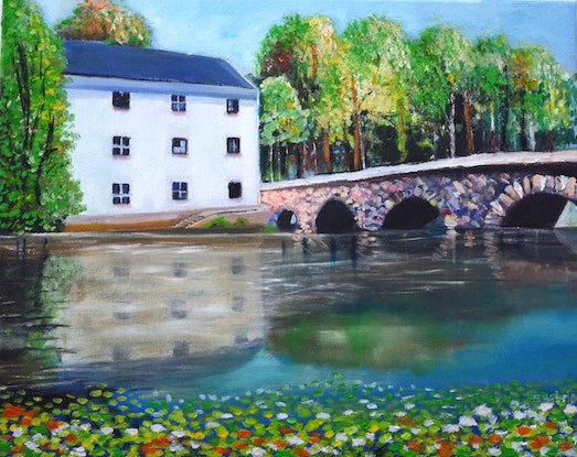 (CreativeWork) House with Lily Pond  by Emilia Rebelo. Oil Paint. Shop online at Bluethumb.
