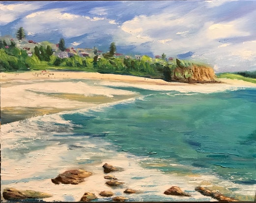 (CreativeWork) Warriewood Beach - Sydney's Northern Beaches by Kaz Brock. Oil Paint. Shop online at Bluethumb.