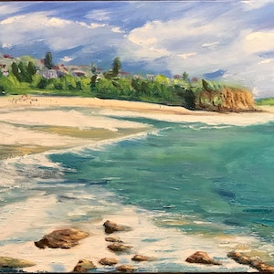 (CreativeWork) Warriewood Beach - Sydney's Northern Beaches by Kaz Brock. oil-painting. Shop online at Bluethumb.