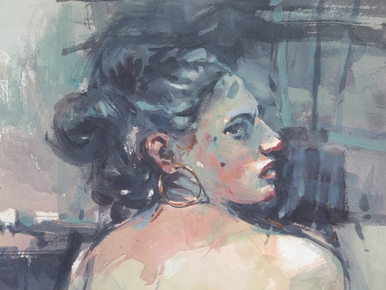 (CreativeWork) Woman with Earring by Tony Belobrajdic. Watercolour Paint. Shop online at Bluethumb.