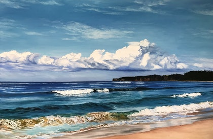 (CreativeWork) Mollymook, NSW by M.A. Hobbs. oil-painting. Shop online at Bluethumb.